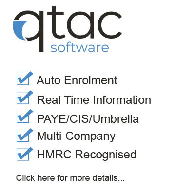 Qtac software is used for calculating Auto Enrolment PAYE CIS and Umbrella payroll.